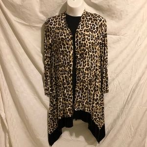 Chico's Leopard Print Duster with Sharkbite Hem
